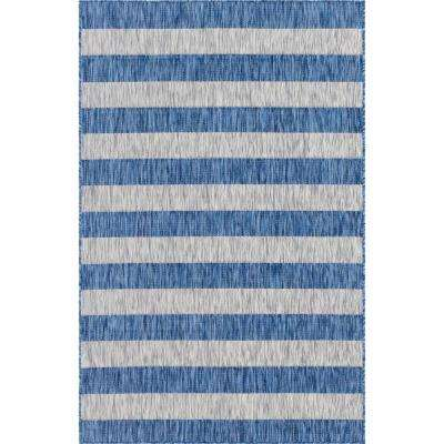 Outdoor Distressed Stripe Azure Blue 7 ft. x 10 ft. Area Rug