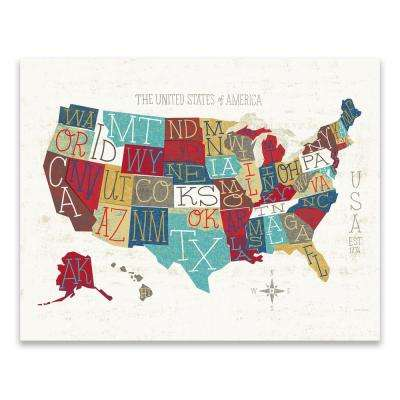 """Colorful USA Map"" by Michael Mullan Printed Canvas Wall Art"