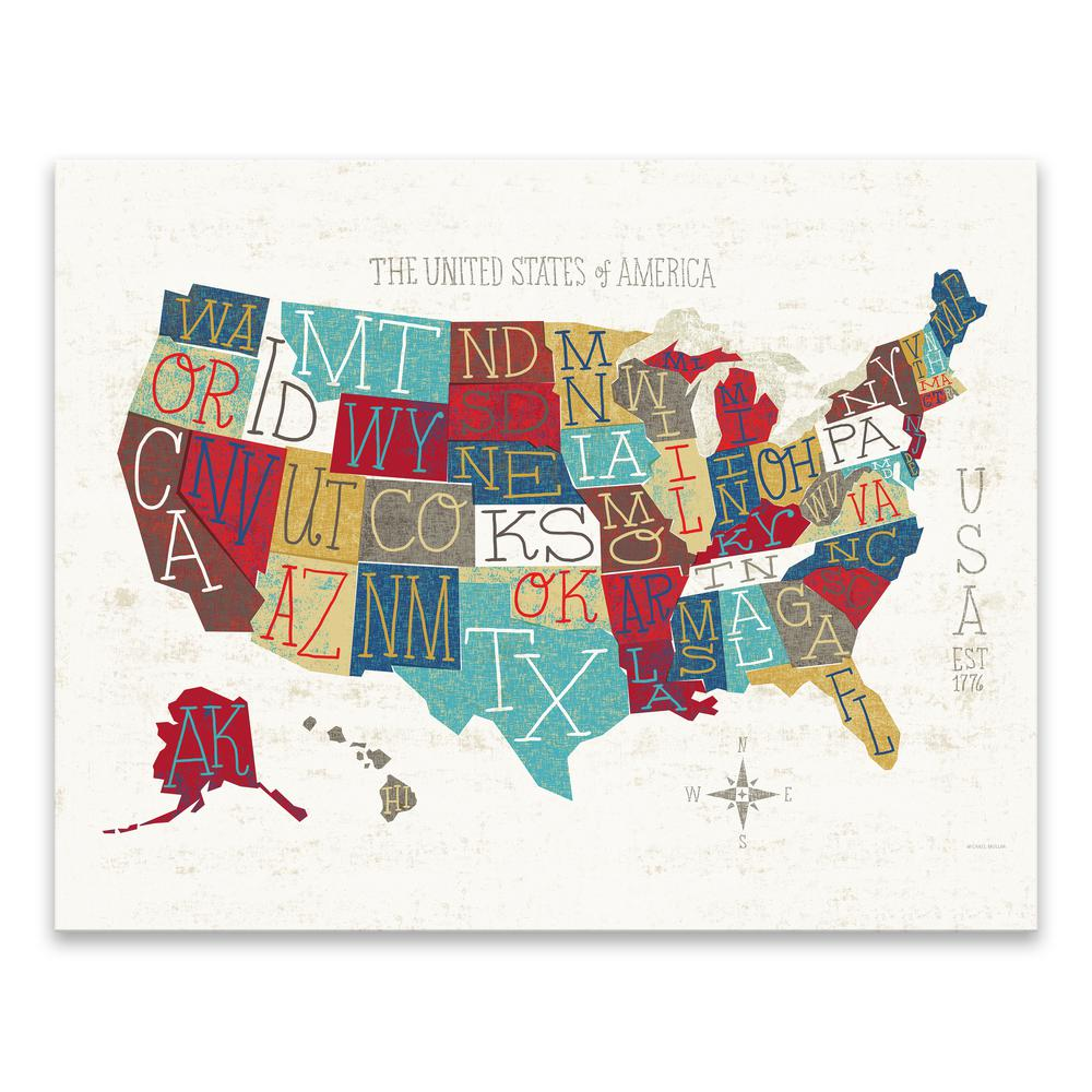 Colorful Map Of Usa.Artissimo Designs Colorful Usa Map By Michael Mullan Printed