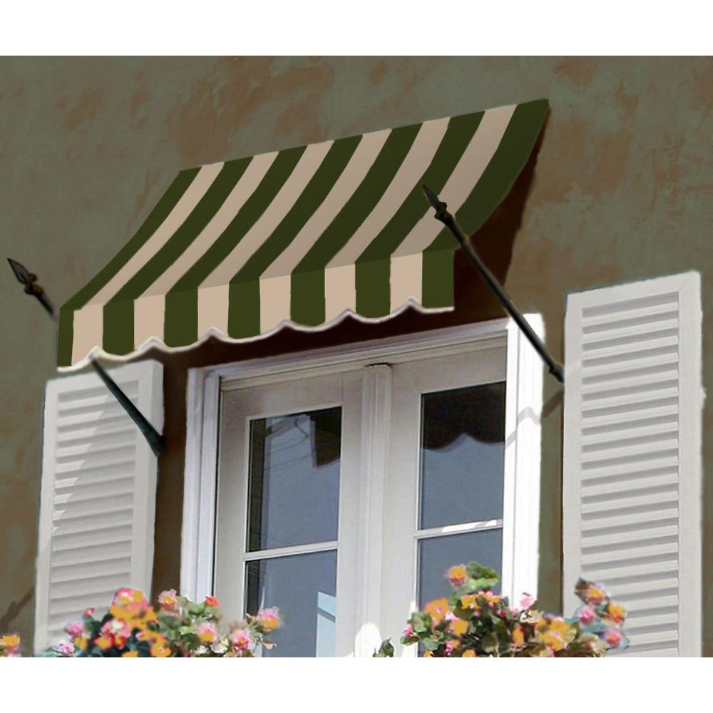 AWNTECH 12 ft. New Orleans Awning (56 in. H x 32 in. D) in Sage/Linen/Cream Stripe