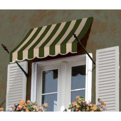 30 ft. New Orleans Awning (56 in. H x 32 in. D) in Sage/Linen/Cream Stripe