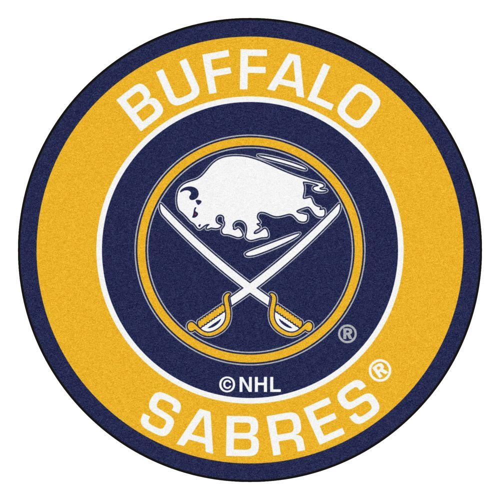 fanmats nhl buffalo sabres yellow 2 ft x 2 ft round area rug 18864