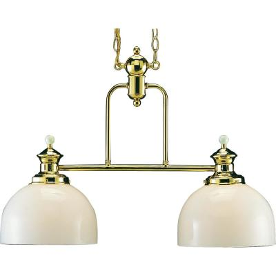 Aberdeen 2-Light Interior/Indoor Polished Brass Hanging Chandelier with White Cased Glass Bowl Shades