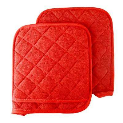 Quilted Cotton Red Oversized Heat Resistant Pot Holder Set (2-Pack)