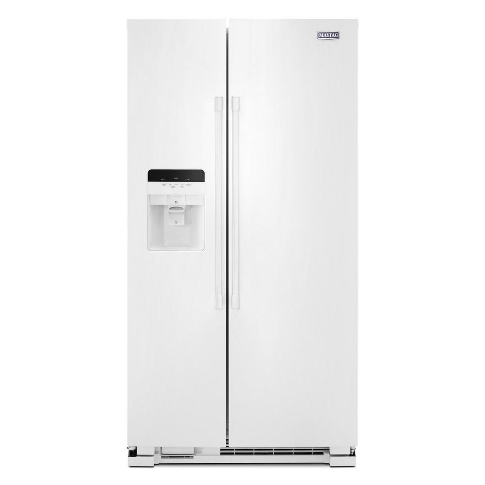 Maytag 25 Cu Ft Side By Side Refrigerator In White With Exterior
