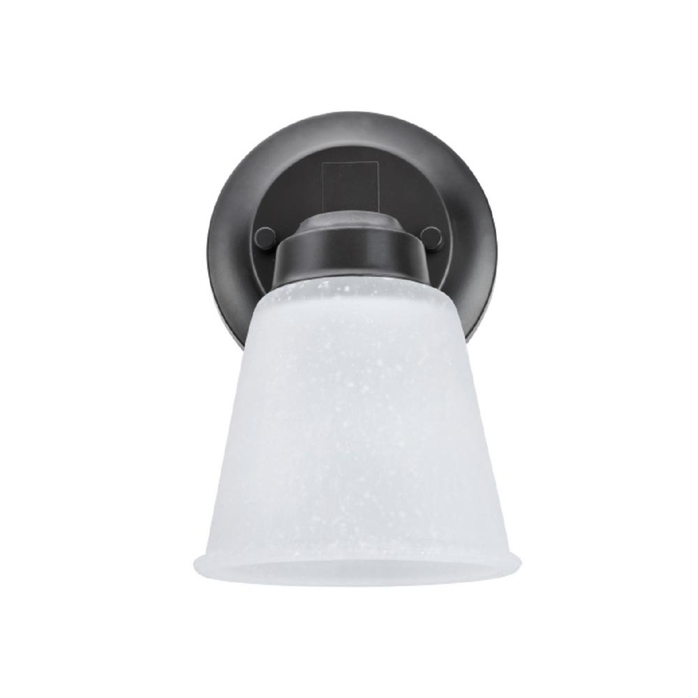 Aspen Creative Corporation 1-Light Oil Rubbed Bronze Vanity Light with Clear Etched Glass Shade