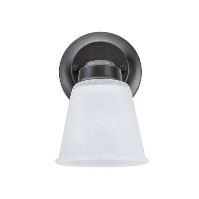 1-Light Oil Rubbed Bronze Vanity Light with Clear Etched Glass Shade