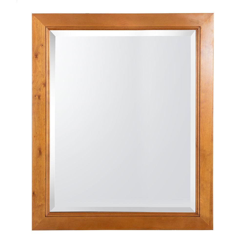 28 in. W x 34 in. H Framed Rectangular Beveled Edge Bathroom Vanity Mirror in Warm Cinnamon