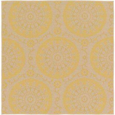 Outdoor Medallion Yellow 6' 0 x 6' 0 Square Rug
