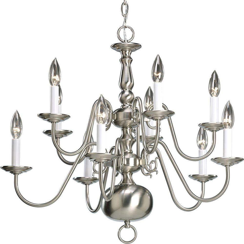Progress Lighting Americana Collection 10 Light Brushed Nickel Chandelier