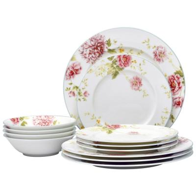 12-Piece Casual pink/white Bone China Dinnerware Set (Service for 4)