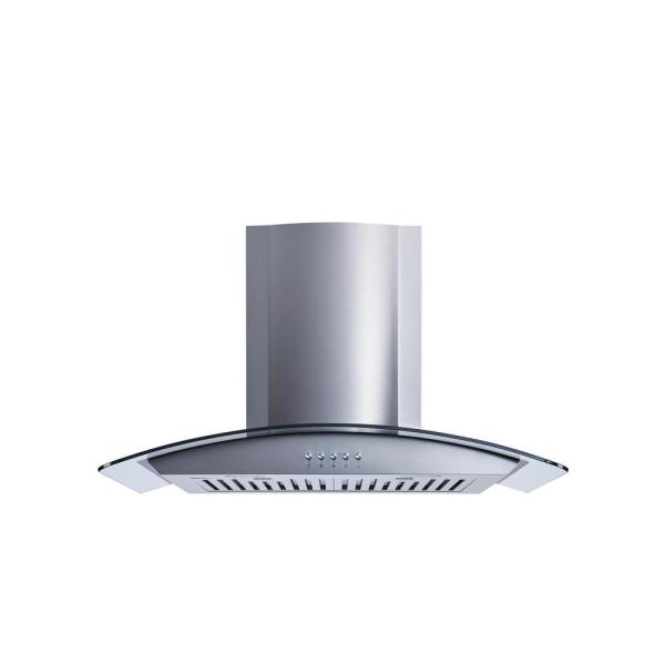 Unbranded 30 In Convertible Wall Mount Range Hood In Stainless Steel Glass With Baffle Filters Wr001c30d The Home Depot