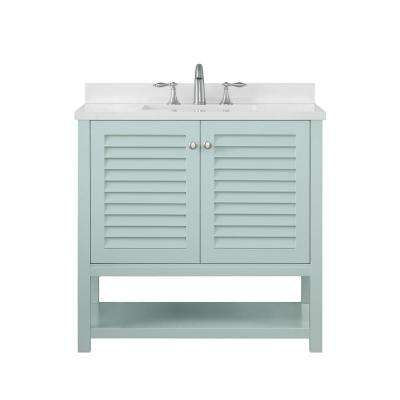 Grace 36 in. W x 22 in. D Bath Vanity in Minty Latte with Cultured Stone Vanity Top in White with White Basin