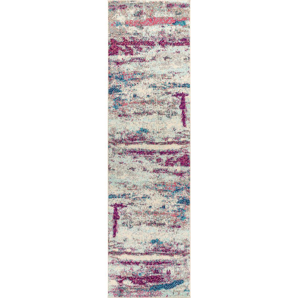 Contemporary POP Modern Abstract Brushstroke Cream/Pink 2 ft. 3 in. x 8 ft. Runner Rug