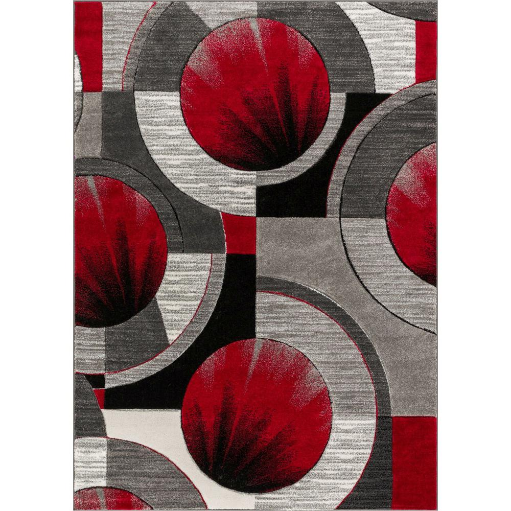 Well Woven Ruby Yolo 7 Ft X 9 Ft Modern Abstract Geometric Red