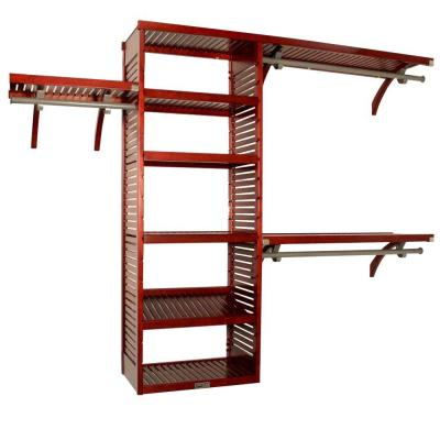16 in. D x 120 in. W x 96 in. H Deep Deluxe Wood Closet System in Red Mahogany