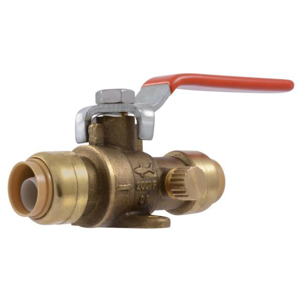 1/2 in. Push-to-Connect Brass Drop Ear Ball Valve with Drain