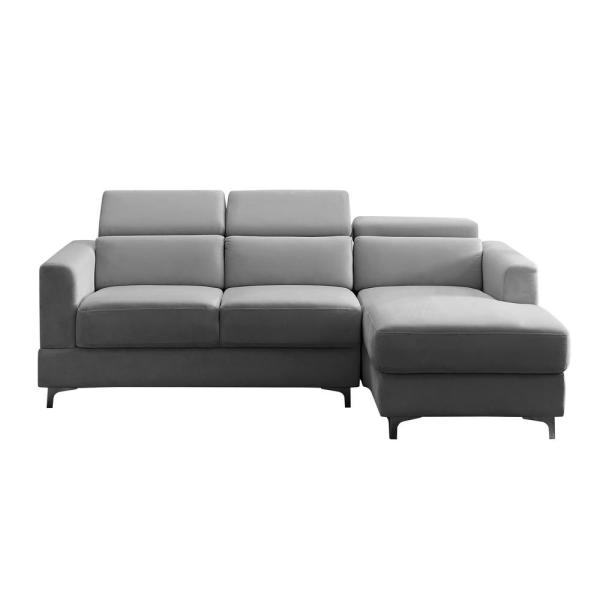 Sectional Sofa 2 Piece Gray Velvet Right Facing Sectionals with Relax Lounge