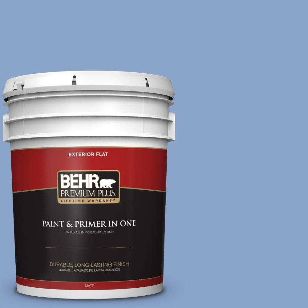 BEHR Premium Plus 5-gal. #590D-4 Romantic Isle Flat Exterior Paint