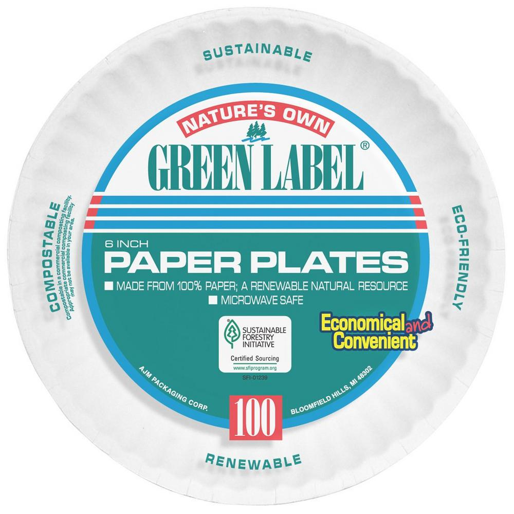 Green Label 6 in. Uncoated Paper Plates in White (1000 Per Case)