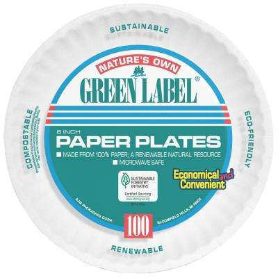 6 in. Uncoated Paper Plates in White (1000 Per Case)