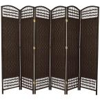 5.5 ft. Dark Mocha 6-Panel Room Divider