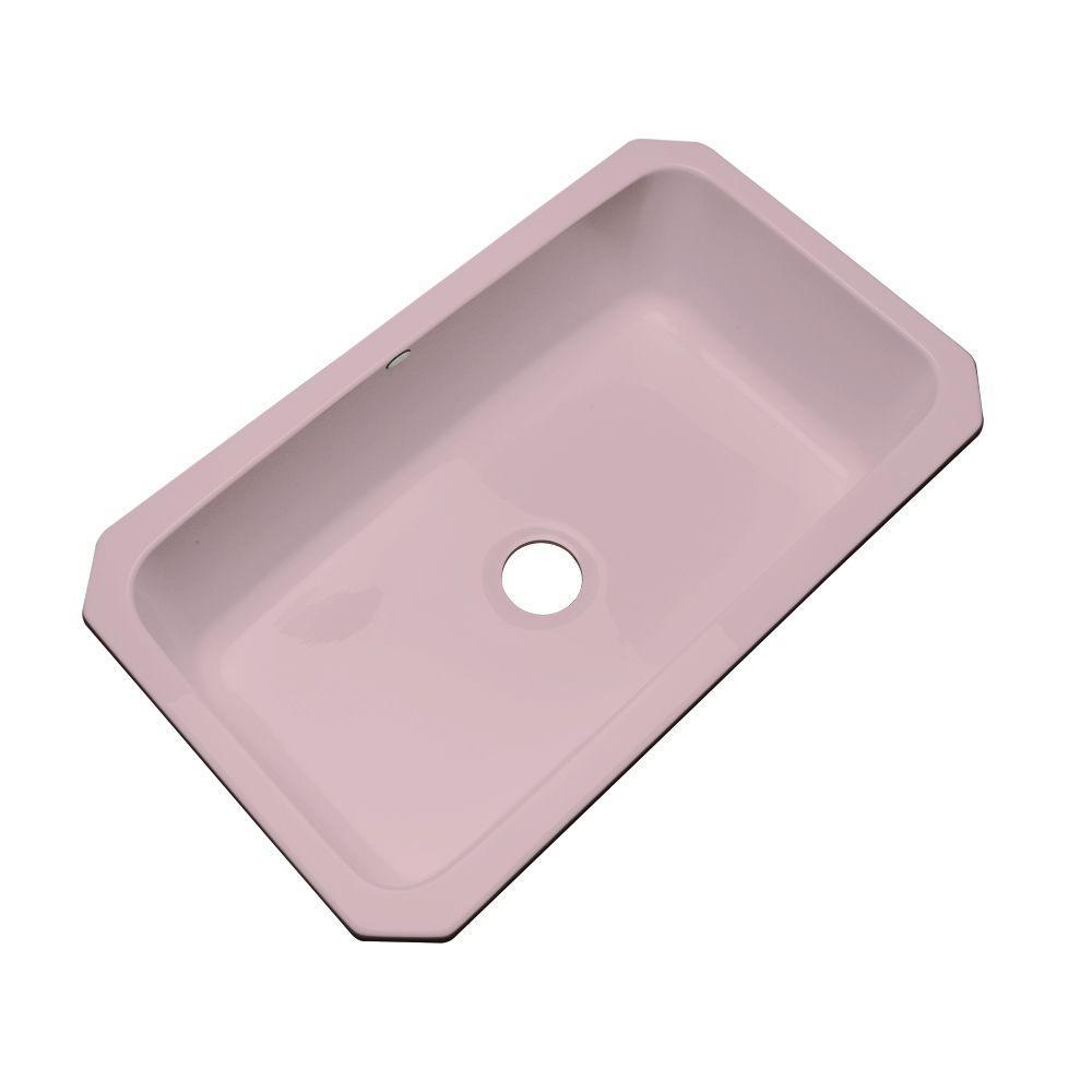 Manhattan Undermount Acrylic 33 in. Single Bowl Kitchen Sink in Wild Rose
