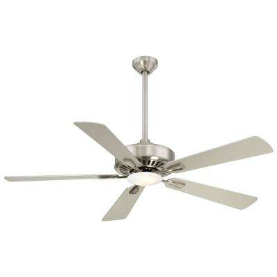 Contractor 52 in. Integrated LED Indoor Brushed Nickel Ceiling Fan with Light with Remote Control