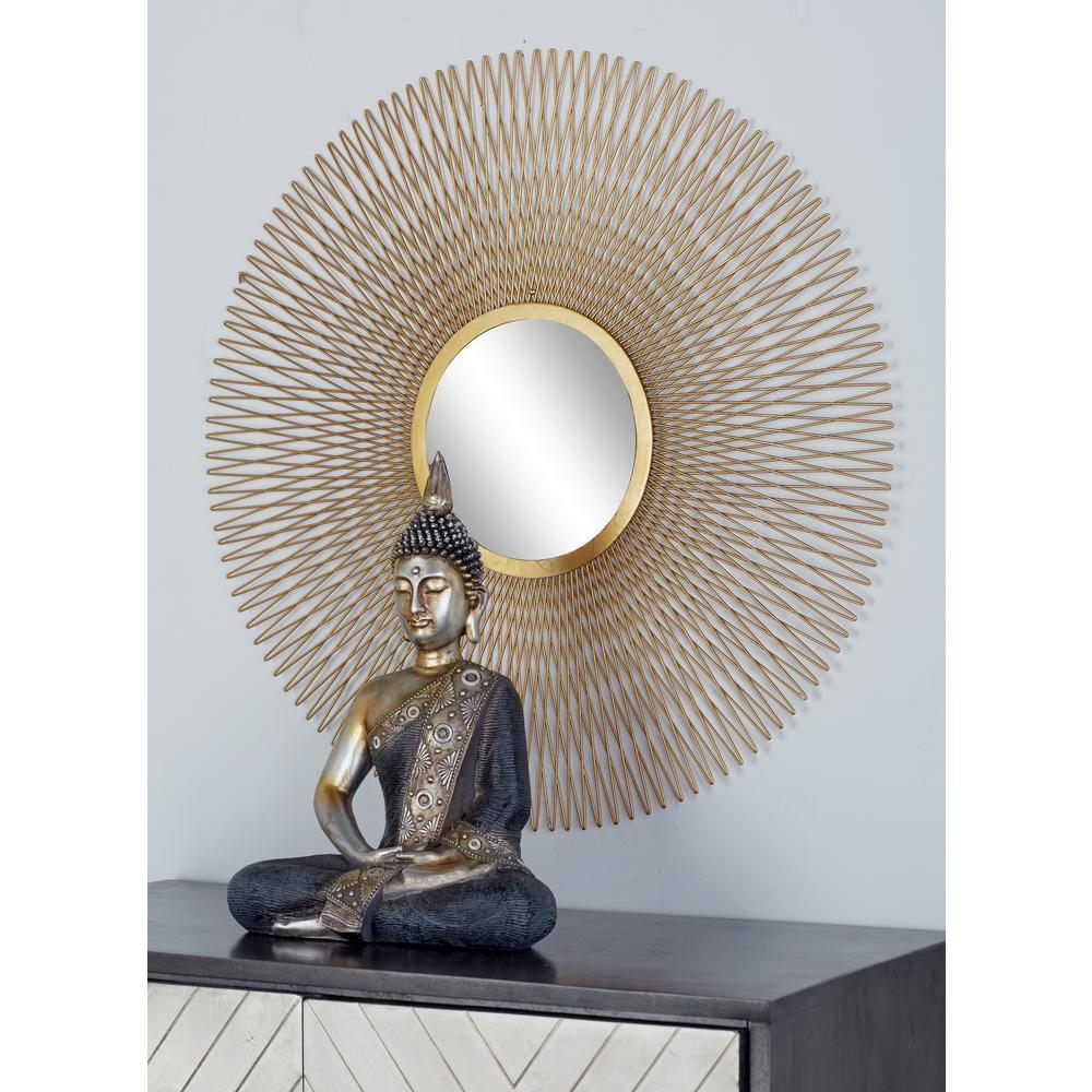 Litton Lane Sunburst Gold Decorative Wall Mirrors (Set of 3)