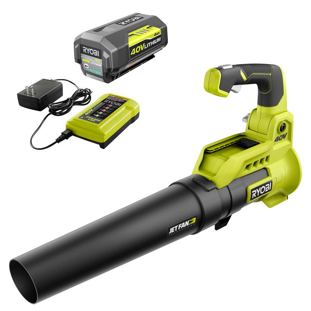 RYOBI 110 MPH 525 CFM 40-Volt Lithium-Ion Cordless Variable-Speed Jet Fan Leaf Blower w/ 4.0 Ah Battery and Charger Included