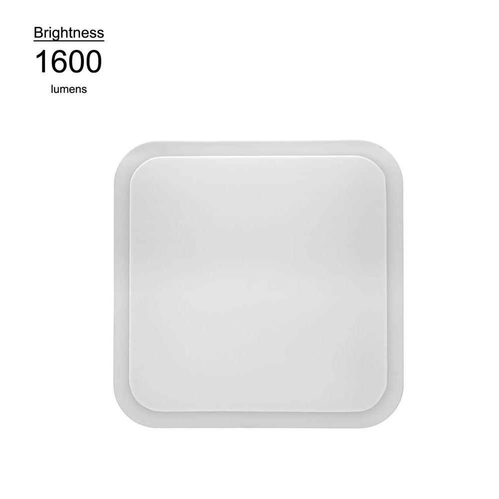 Hampton Bay 16 in. White Integrated LED Flushmount Square Puff Ceiling Light w/ 4000K Bright White Light, 1600 Lumens, 120 Volt