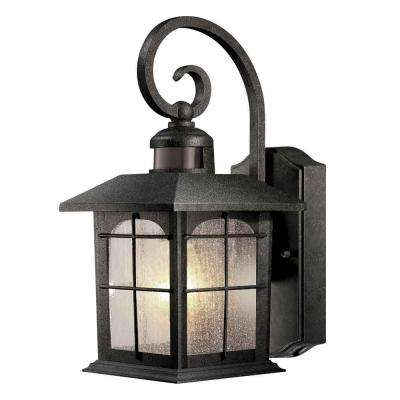 Brimfield 180-Degree 1-Light Aged Iron Motion-Sensing Outdoor Wall Lantern
