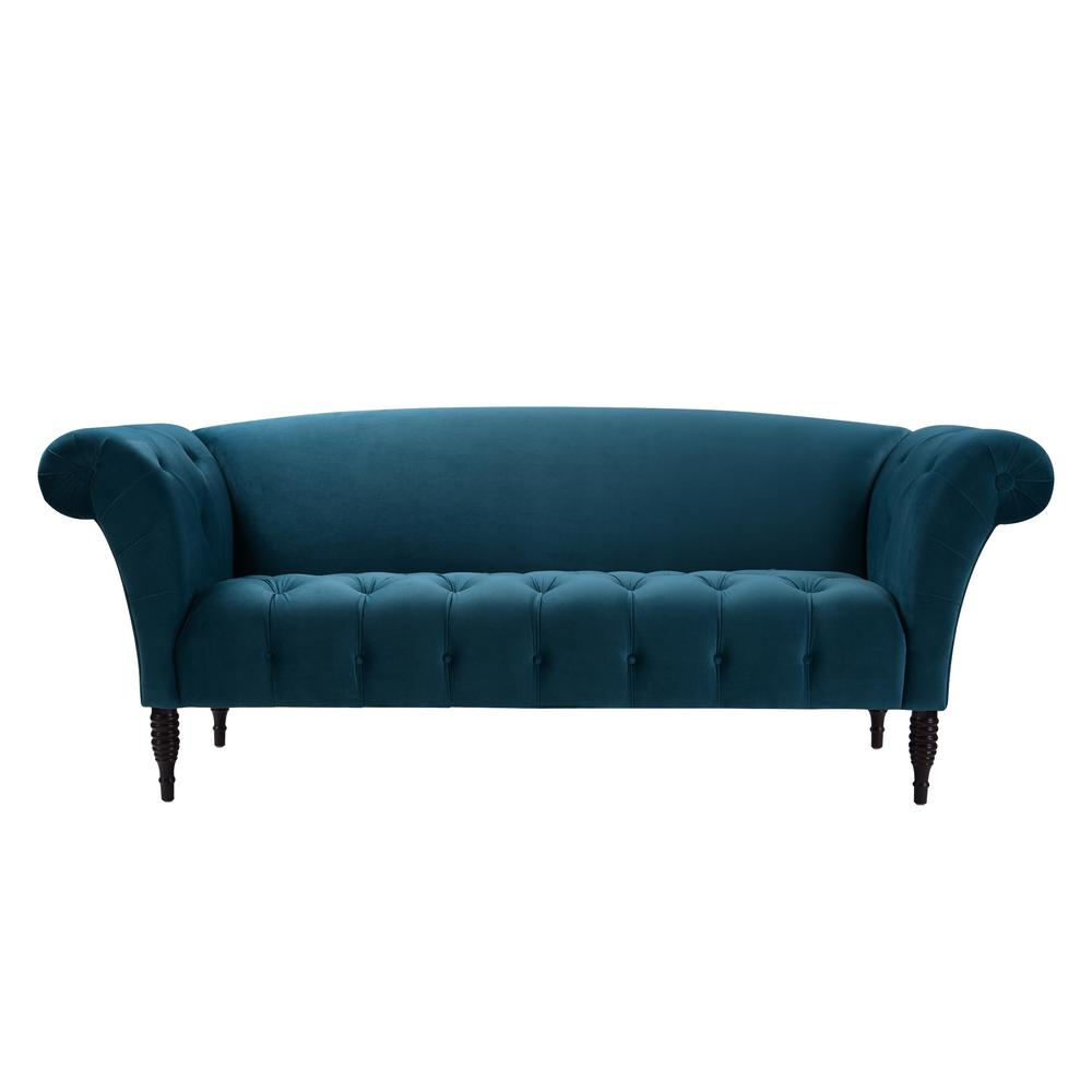 Jennifer Taylor Samantha Satin Teal Tufted Camelback Sofa