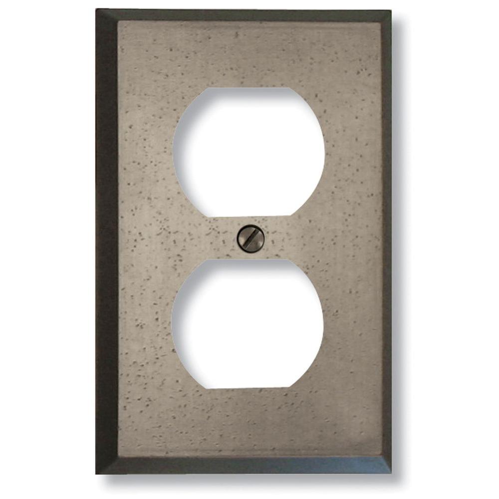 Amerelle Manhattan 1 Duplex Wall Plate - Gun Metal Grey