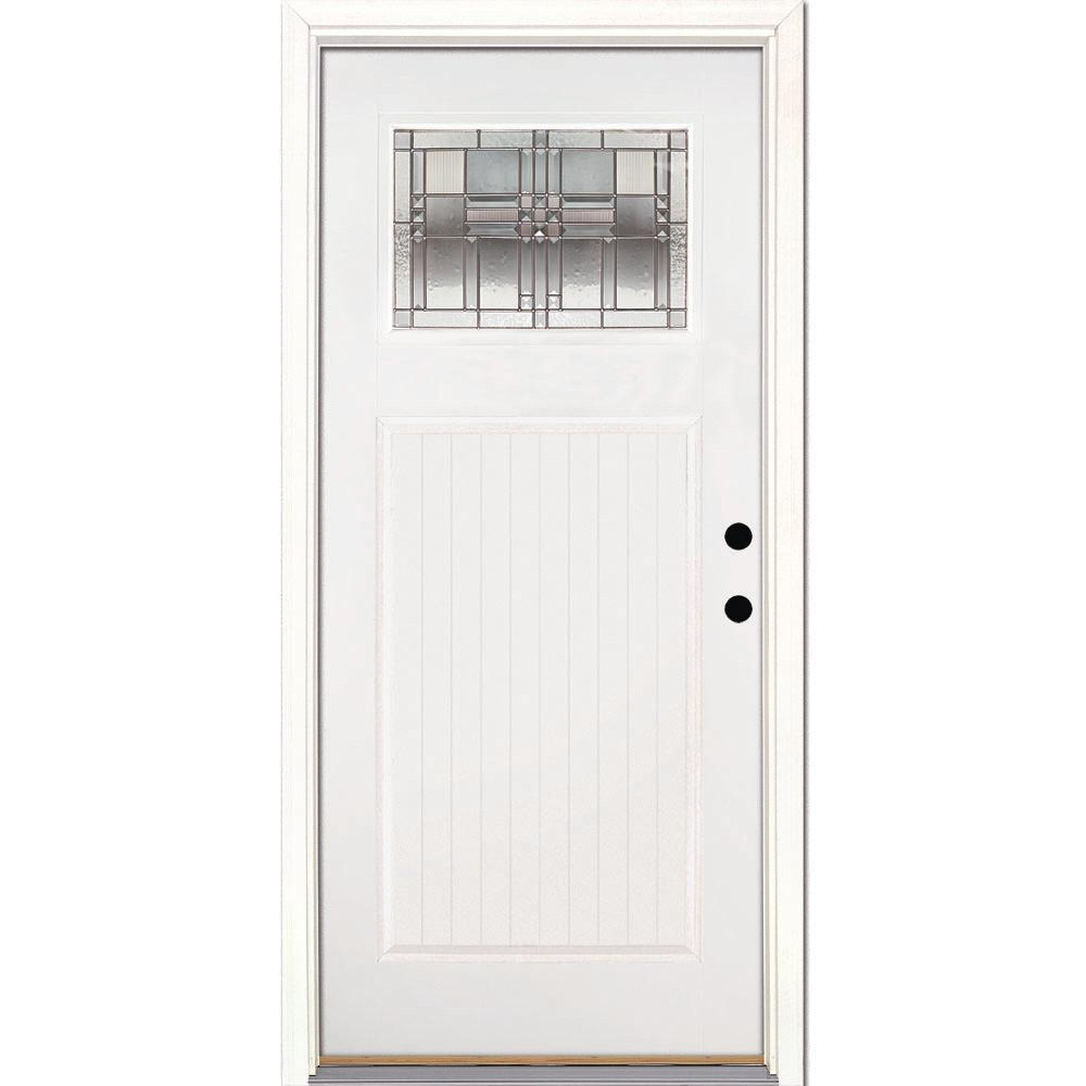Feather River Doors 37.5 in. x 81.625 in. Monroe Zinc Craftsman Painted White Mahogany  sc 1 st  The Home Depot & Feather River Doors 37.5 in. x 81.625 in. Monroe Zinc Craftsman ...