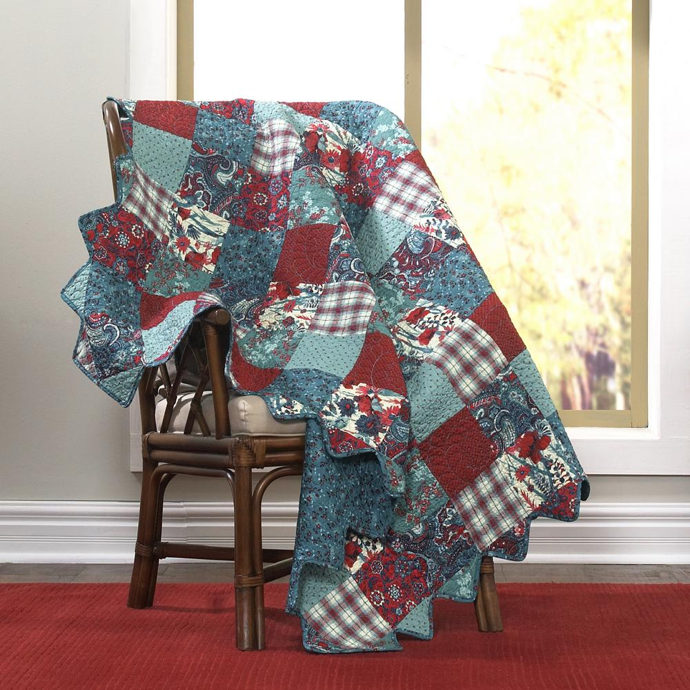 Donna Sharp Abilene Aqua, Red, Turquoise and White Patchw...
