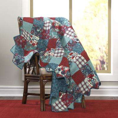 Abilene Aqua, Red, Turquoise and White Patchwork Cotton Throw
