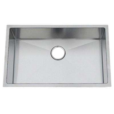 Professional Undermount Stainless Steel 28-5/8x18-11/16x10 in. 0-Hole Single Bowl Kitchen Sink