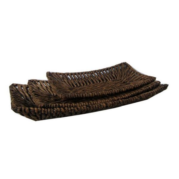 THREE HANDS Brown Natural Fiber Water Hyacinth Plater (Set of 3)