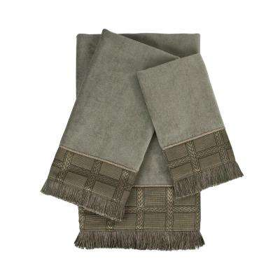 Landers Grey Embellished Towel Set (3-Piece)