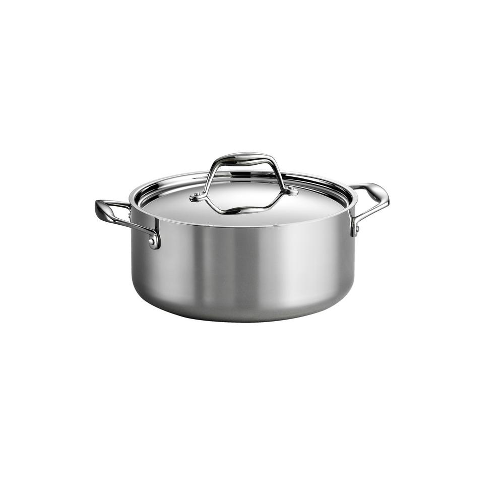 Tramontina Tramontina Gourmet Tri-Ply 5 Qt. Stainless Steel Dutch Oven with Lid, Stainless Steel / Mirror Polished