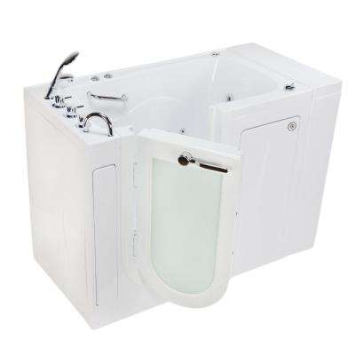 Monaco Acrylic 52 in. Walk-In Whirlpool and Air Bath in White Heated Seat Thermostatic Faucet Set Left 2 in. Dual Drain