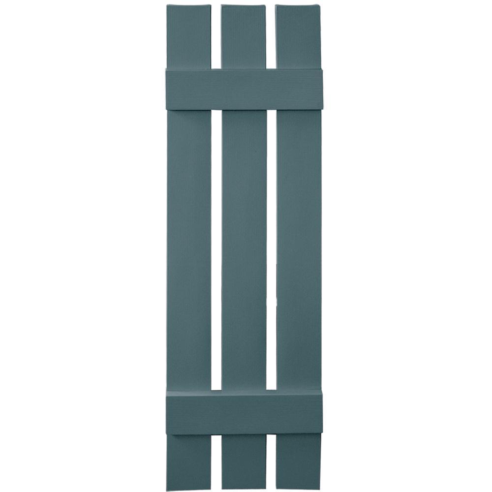 Builders Edge 12 in. x 43 in. Board-N-Batten Shutters Pair, 3 Boards Spaced #004 Wedgewood Blue