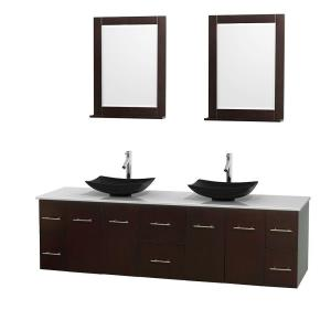 Wyndham Collection Centra 80 inch Double Vanity in Espresso with Solid-Surface Vanity Top in White, Black Granite Sinks... by Wyndham Collection