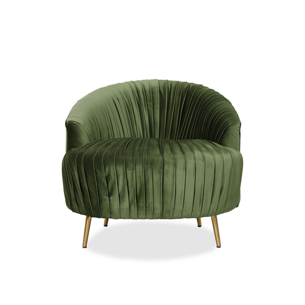 Charmant Handy Living Juliette Kale Contemporary Ruched Barrel Chair In Green Velvet