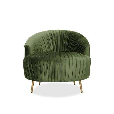 Juliette Kale Contemporary Ruched Barrel Chair in Green Velvet