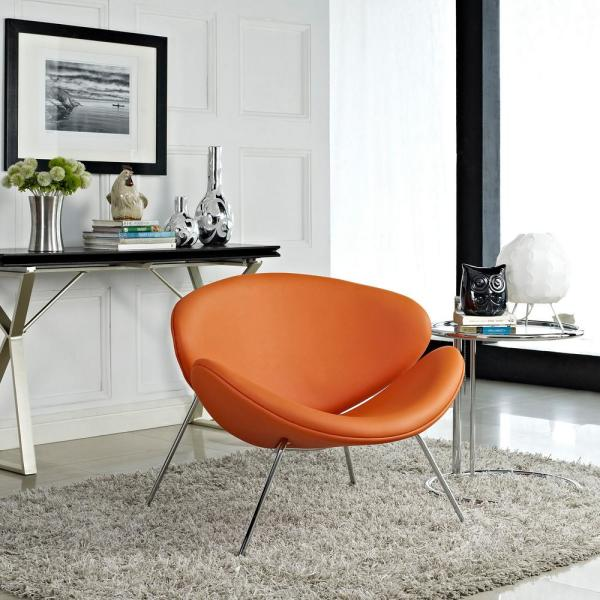 MODWAY Nutshell Upholstered Vinyl Lounge Chair in Orange EEI-809-ORA