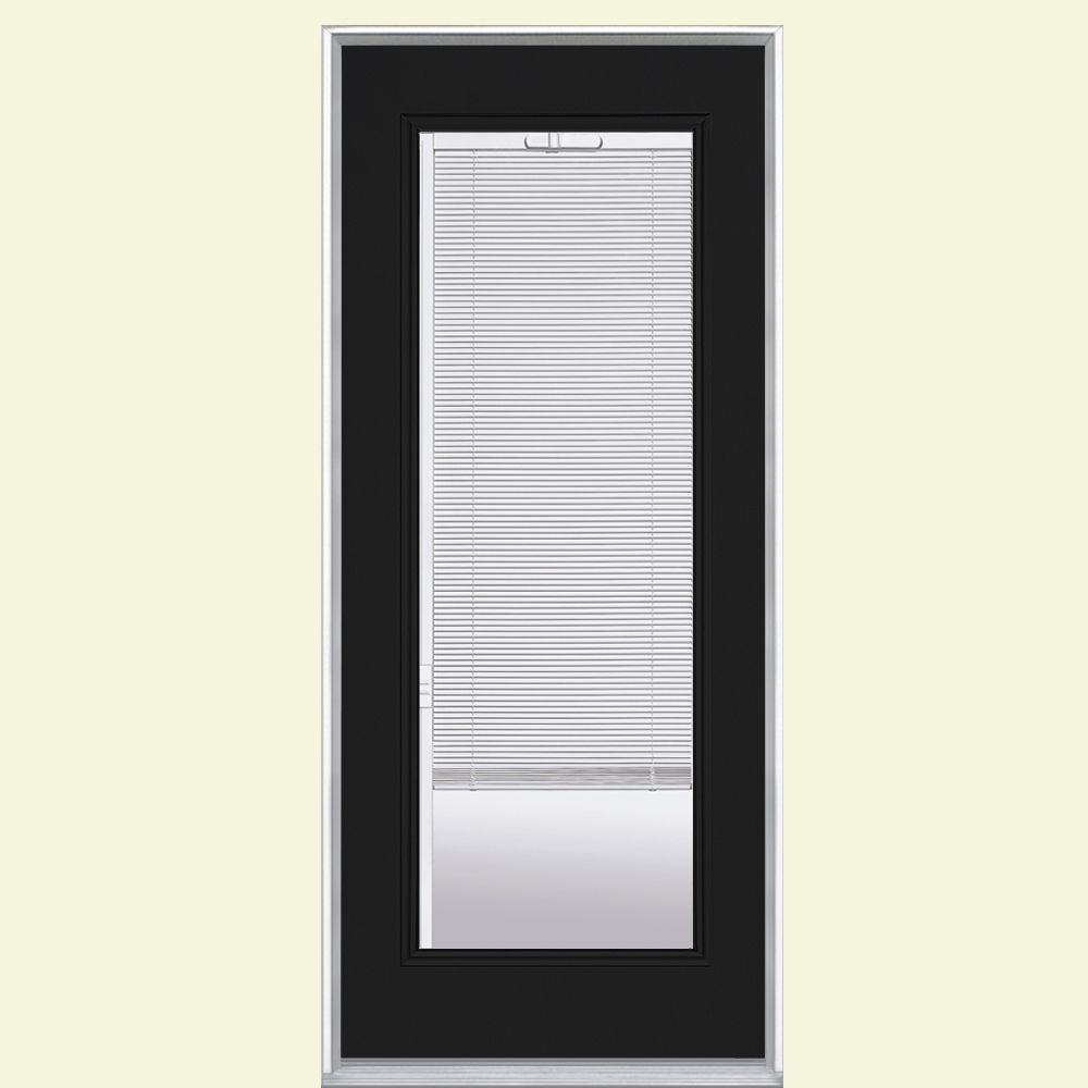 32 in. x 80 in. Full Lite Mini Blind Left Hand Inswing Painted Steel Prehung Front Door No Brickmold