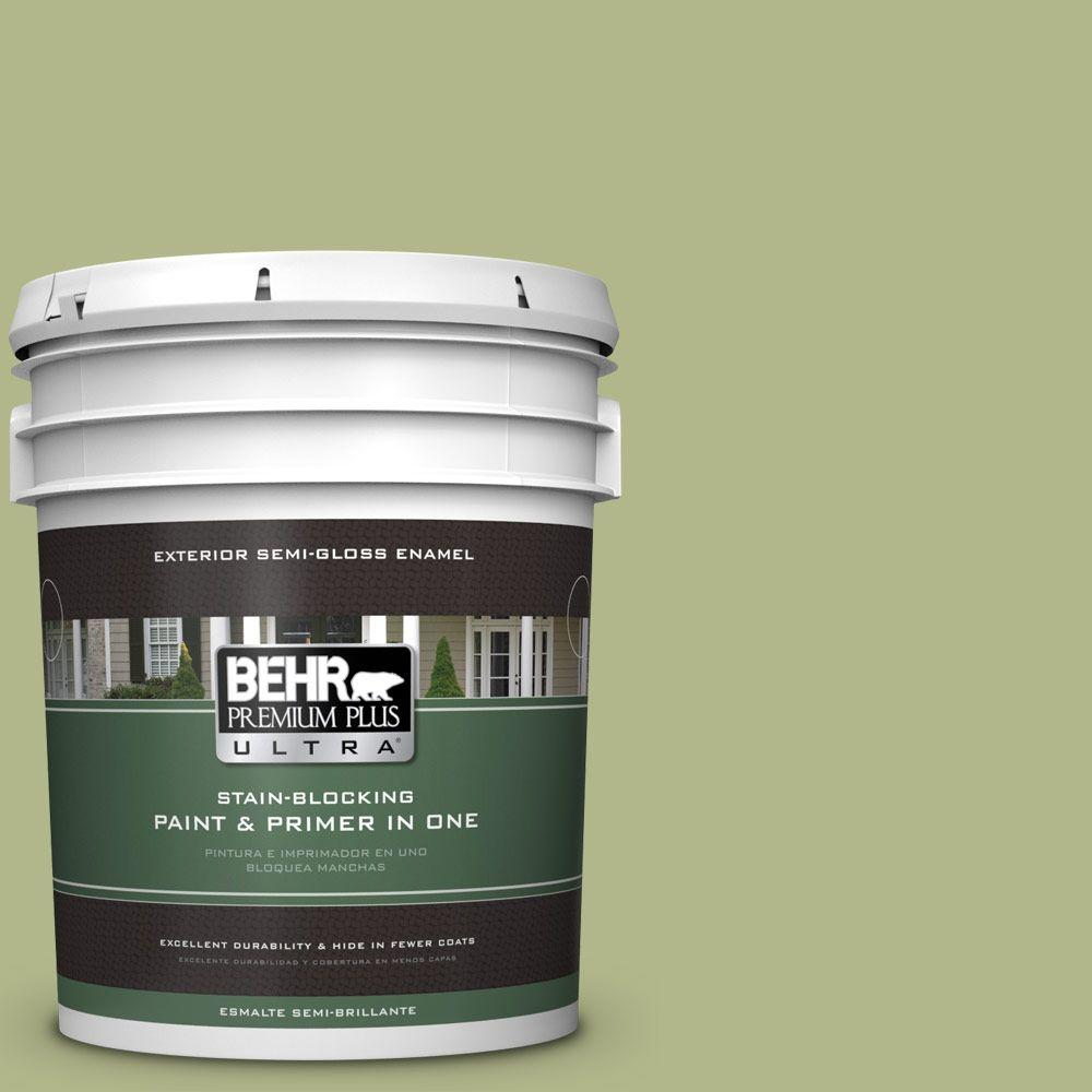 5-gal. #M350-4 Sweet Grass Semi-Gloss Enamel Exterior Paint