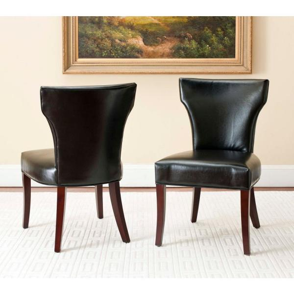 Safavieh Ryan Black Bicast Leather Side Chair (Set of 2) MCR4513B-SET2
